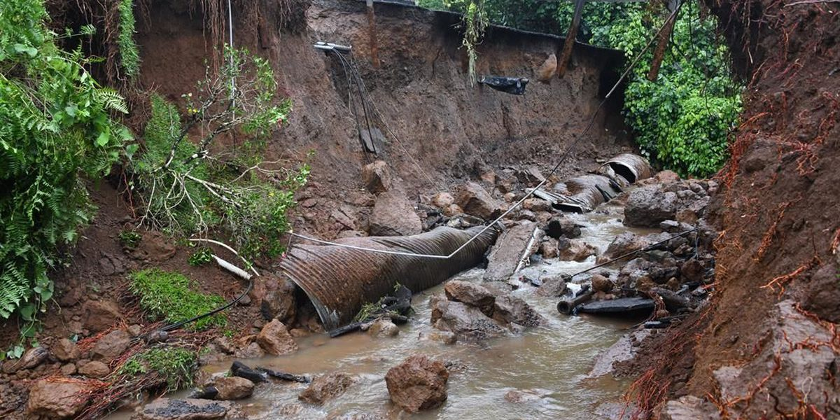 Heavy rains, flooding brought by Lane deals serious damage to Maui roads