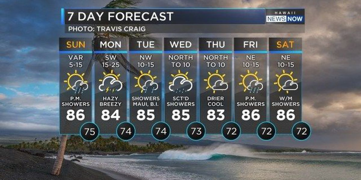 Forecast: South winds, heavy showers around the corner