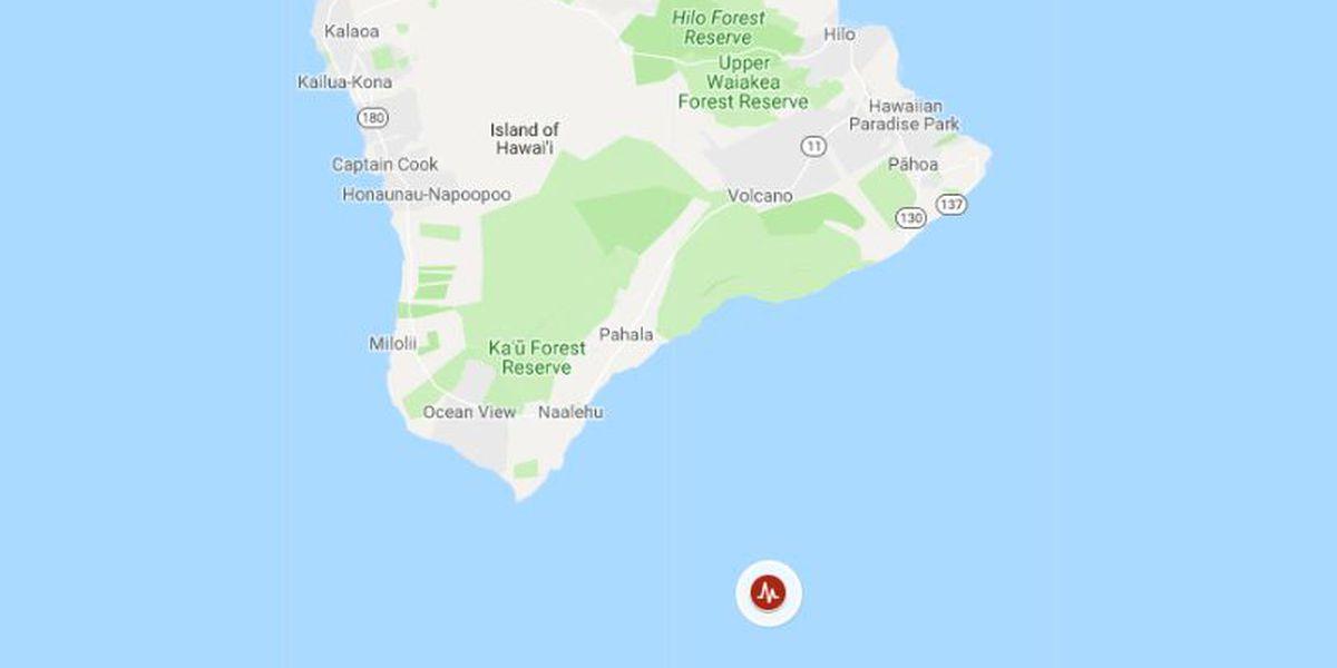 No tsunami threat after 4.1 magnitude quake strikes south of Hawaii Island