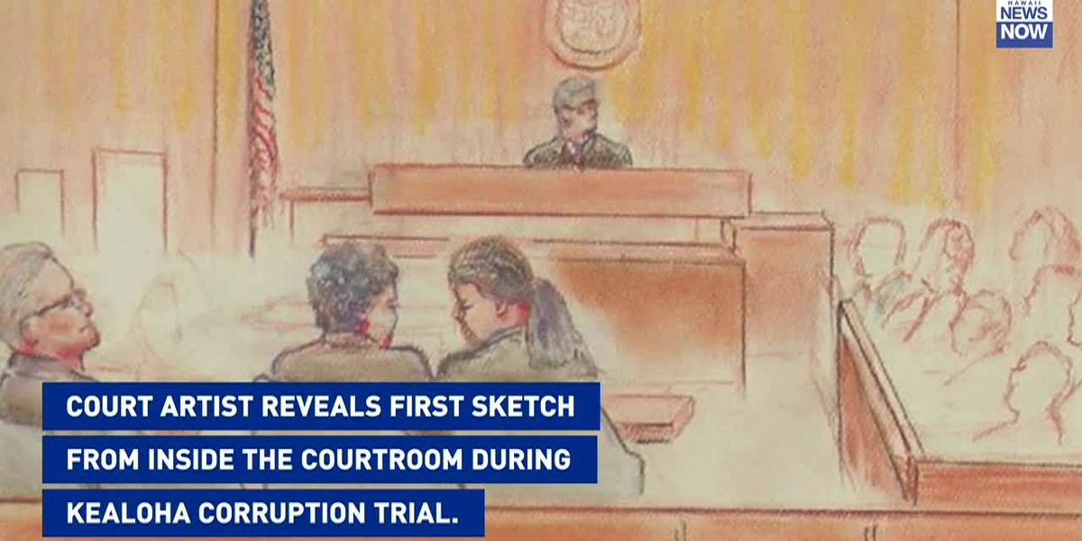 Court artist reveals first sketch from inside the courtroom during Kealoha corruption trial