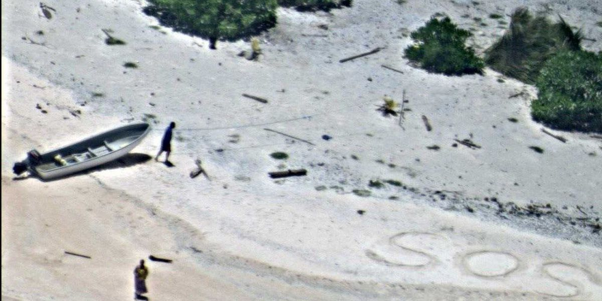 Stranded mariners rescued in Micronesia after 'SOS' spotted in sand