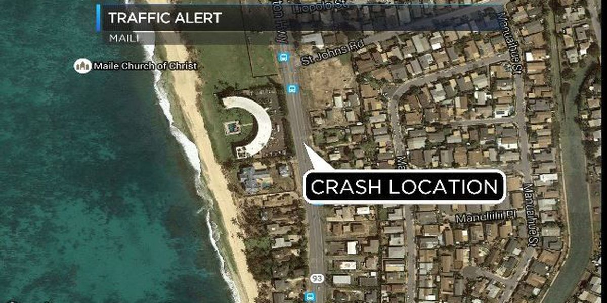 Farrington Hwy. in Maili reopened following car crash, downed utility pole