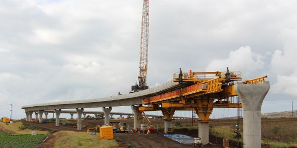 Second mile of elevated rail guideway completed in West Oahu