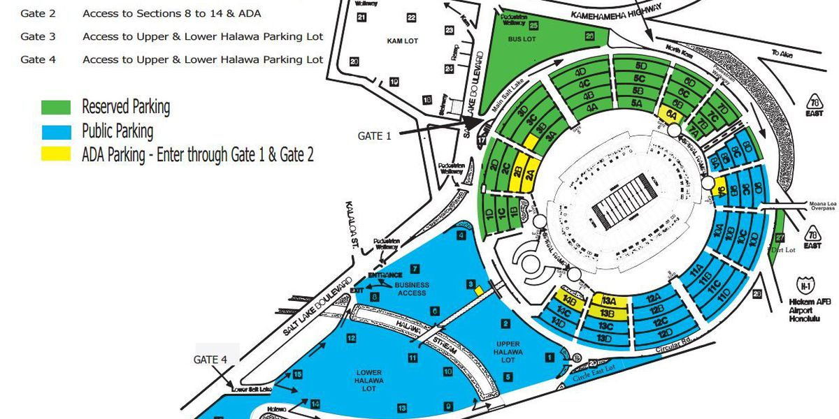 Parking information for Hawaii Bowl 2016