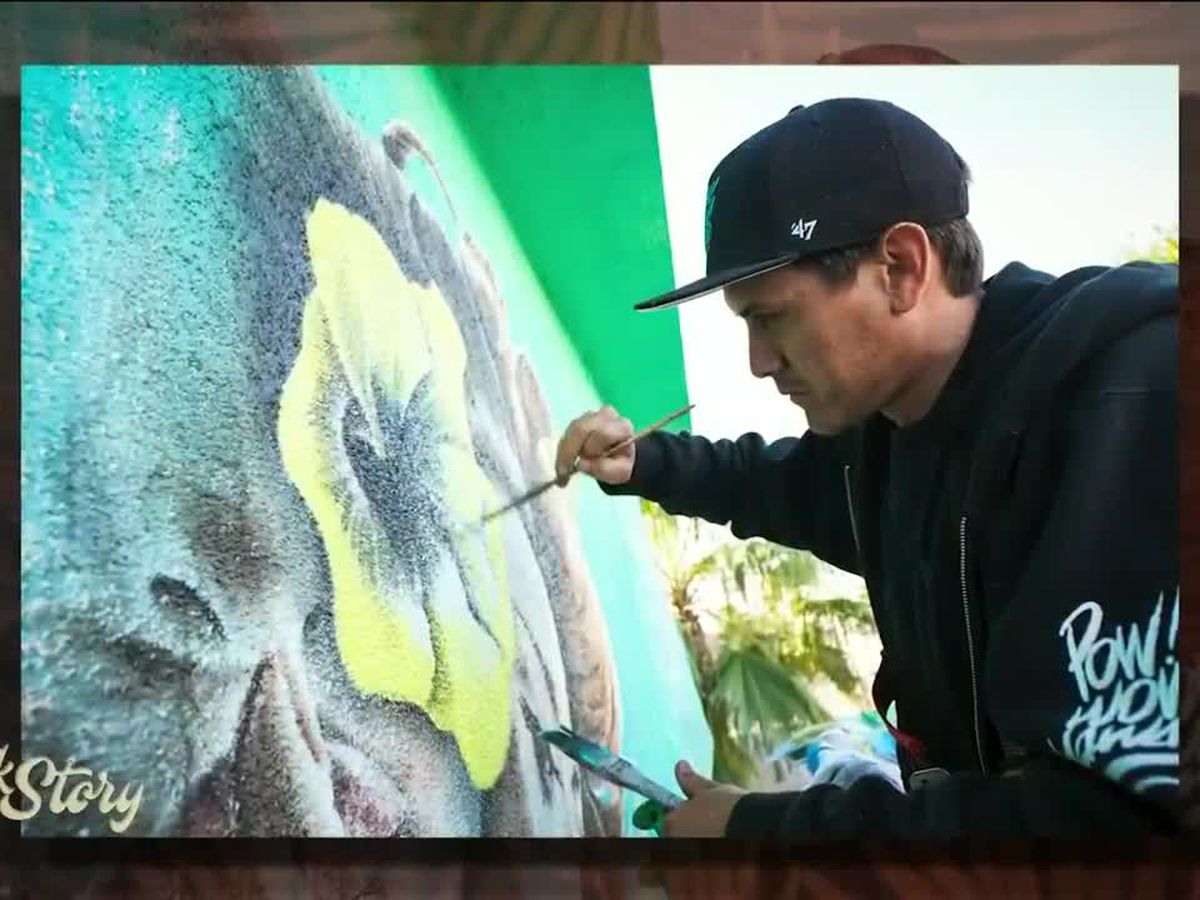 Artist Kamea Hadar paints a picture of his life creating larger than life murals on Talk Story