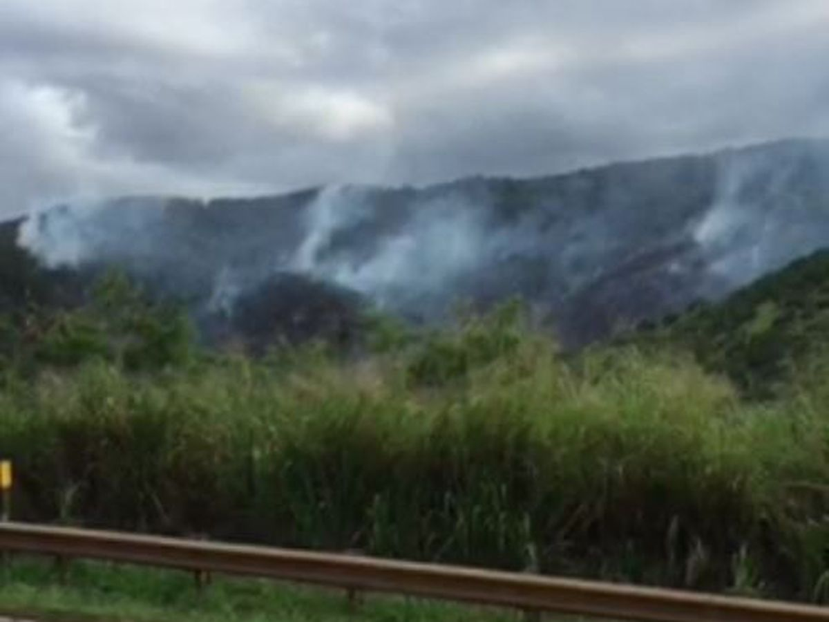 Brush fire still smoldering in Central Oahu