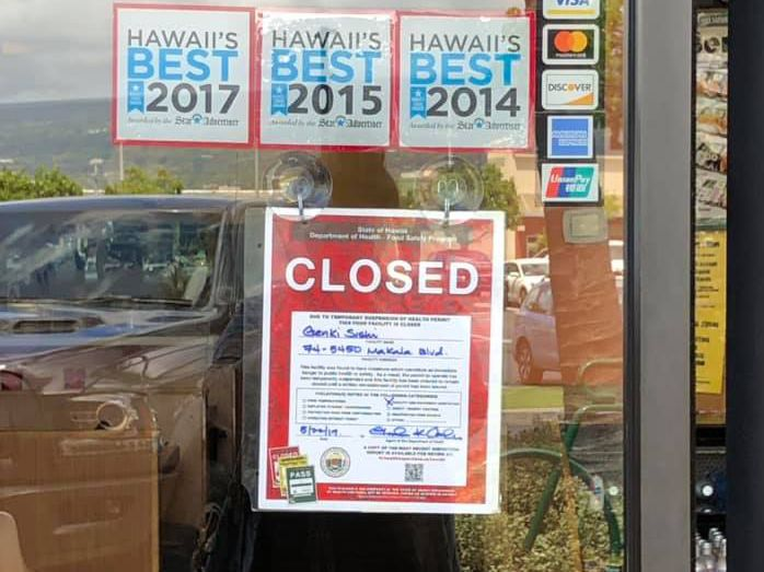 Roach infestation results in a red placard, temporary closure of Kona sushi restaurant