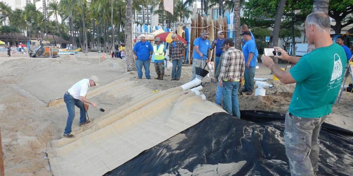 'Sand mattress' central to new effort to save Waikiki beach