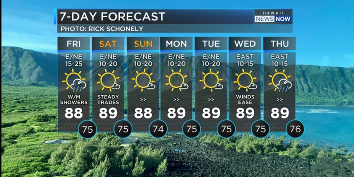 Forecast: Brisk trade winds will hold through the weekend