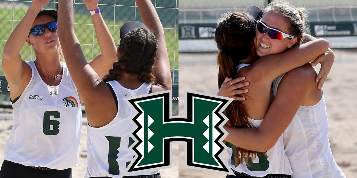 Two Rainbow Wahine beach volleyball pairs earn AVCA Top Flight Awards