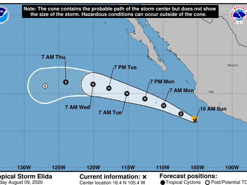 Tropical Storm Elida forms in eastern North Pacific