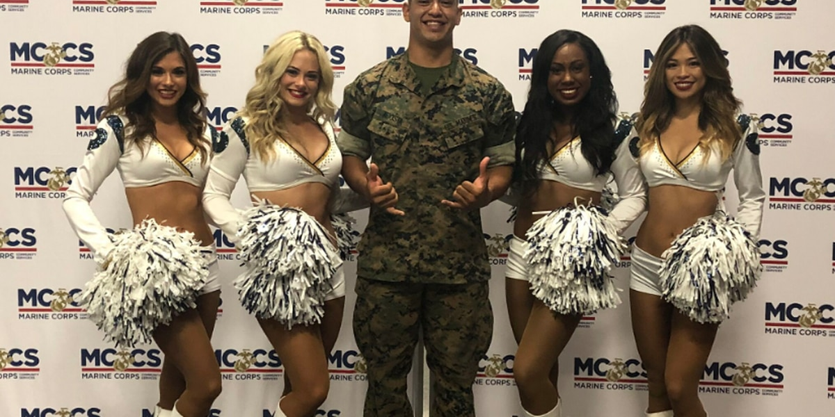 Rams cheerleaders visit Oahu military bases