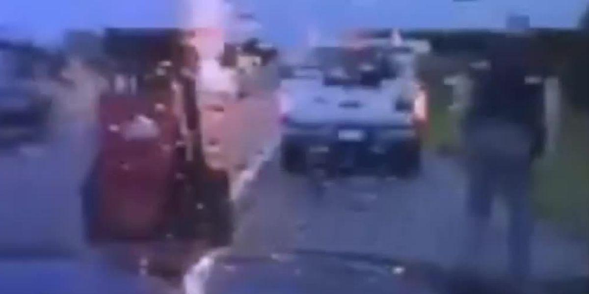 'Whoa! That was close!': Lightning nearly hits Oklahoma trooper