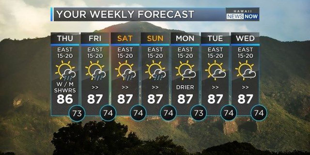 Forecast: Light windward showers likely