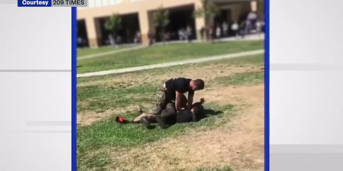 Marine in California tackles high school students during brawl