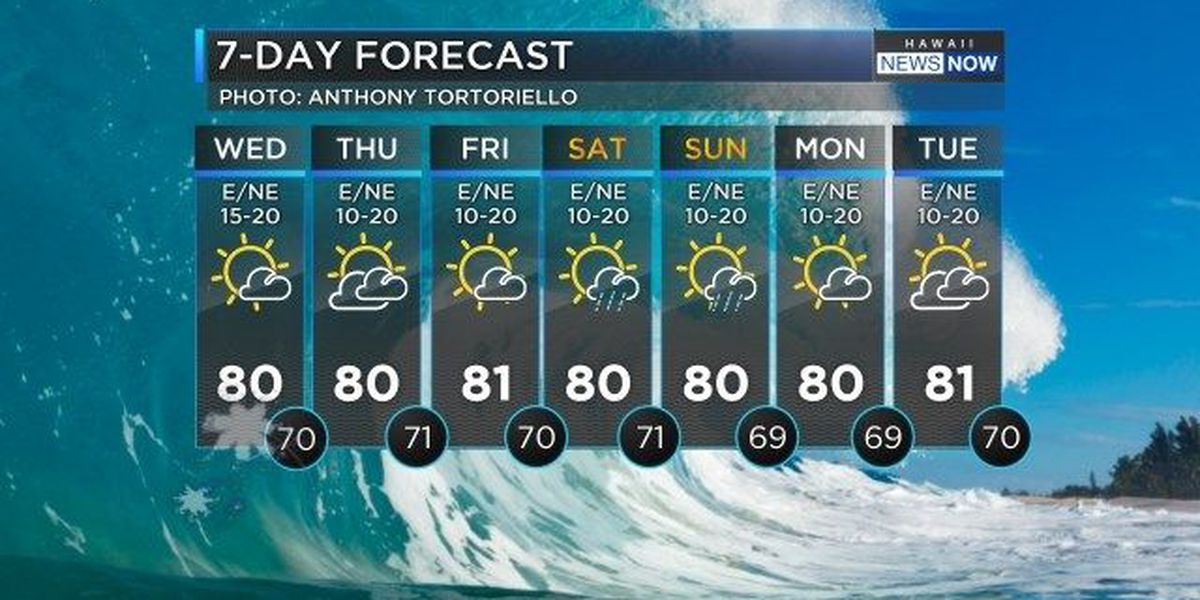 Forecast: Comfortable, trade wind weather continues for all islands