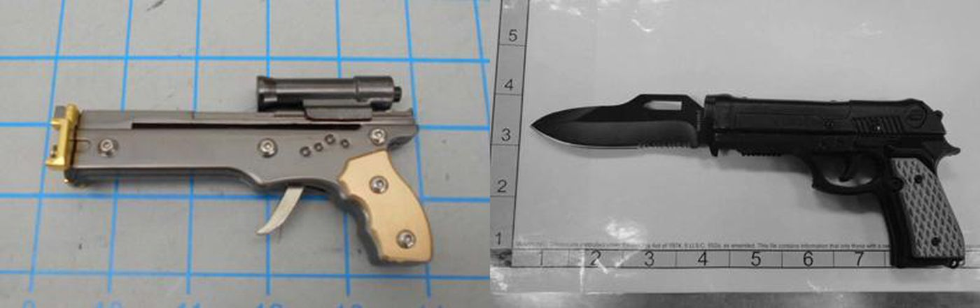 TSA will confiscate firearms whether they are novelty items that shoot toothpicks, as on the left, or real, as on the right.
