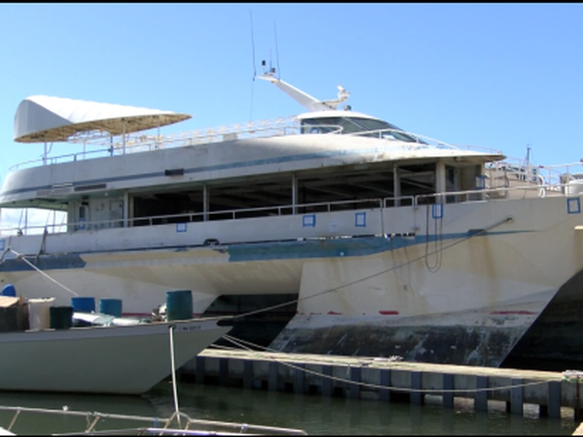 A once impressive boat seen in Hollywood productions now sits in disrepair