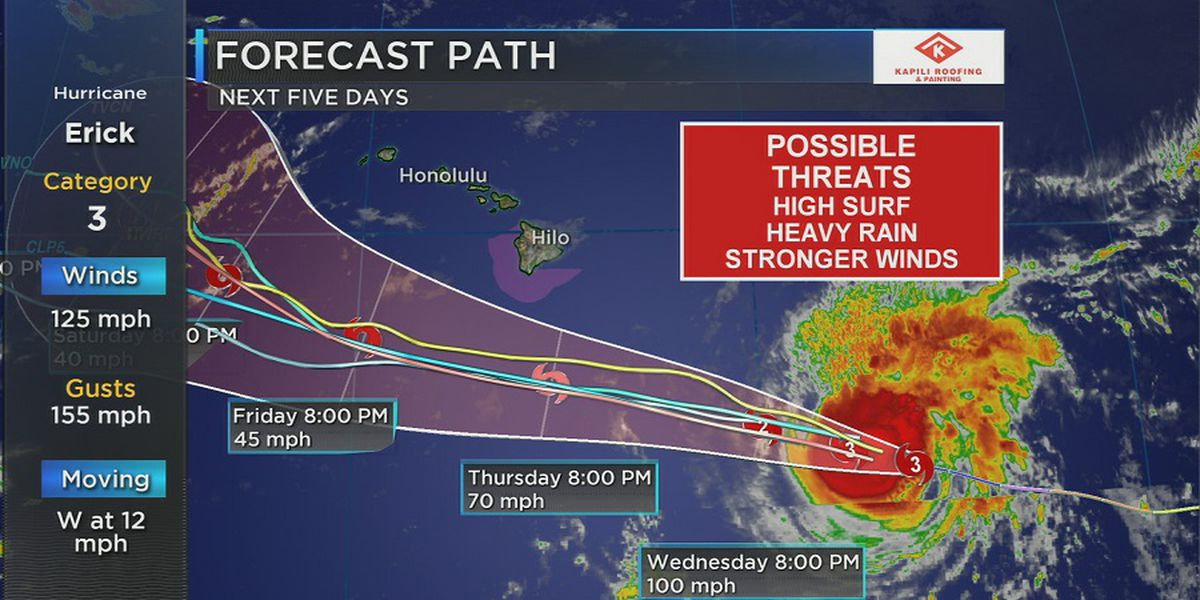 Forecast: Impacts from Hurricane Erick possible starting tonight