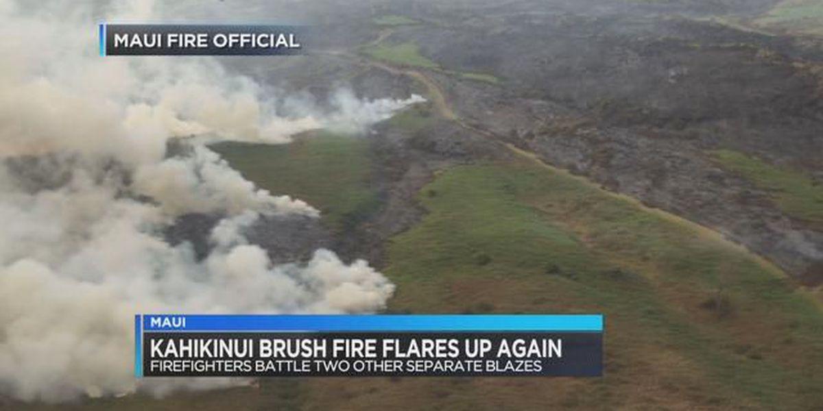 Maui firefighters still monitoring Kahikinui brush fire