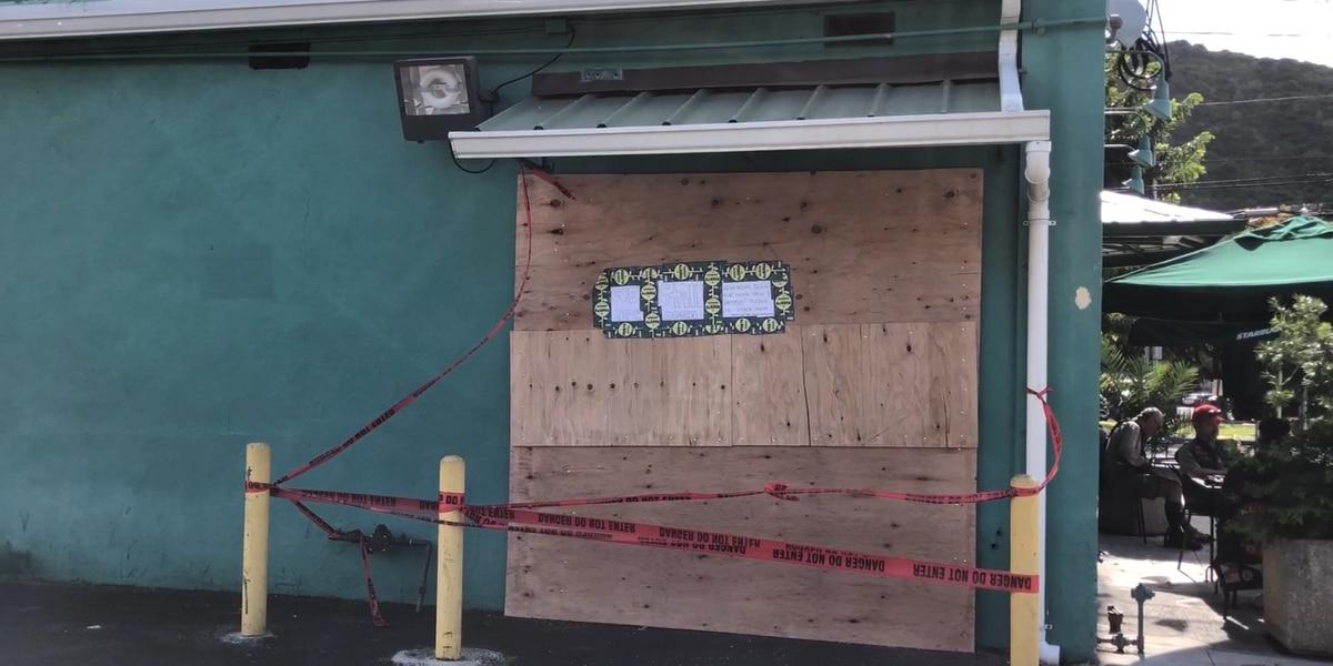 Strong winds shatter glass doors at Manoa Starbucks