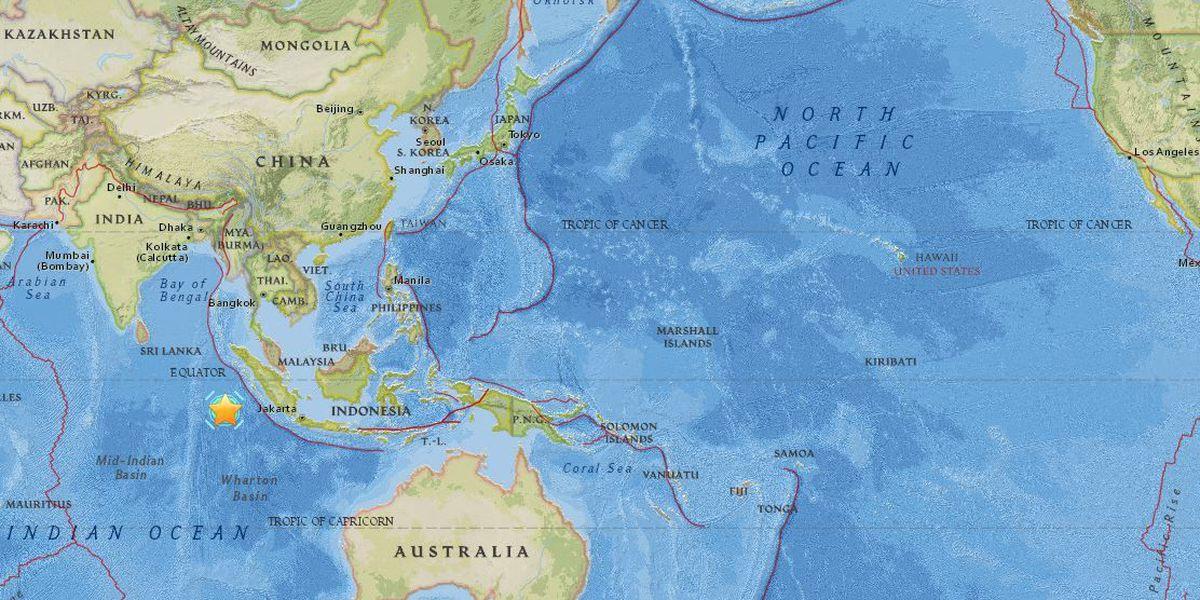 Magnitude-7.8 quake hits off coast of Indonesia, but no tsunami threat to Hawaii