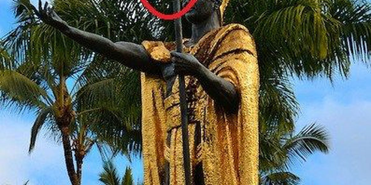 Spear to be reattached to vandalized King Kamehameha statue