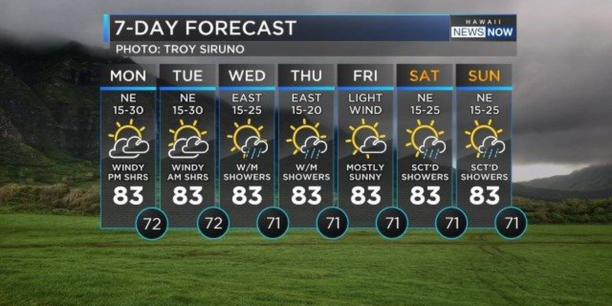 Forecast: Strong trades, a few more windward showers