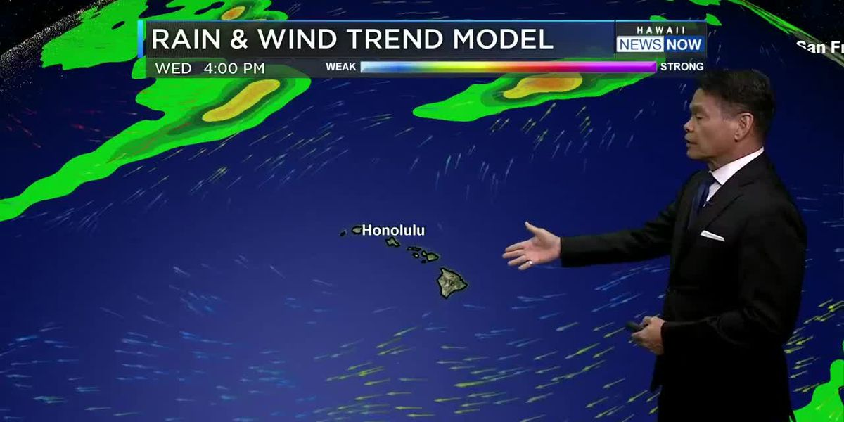 Forecast: Mostly dry conditions, but trade winds to diminish by mid-week