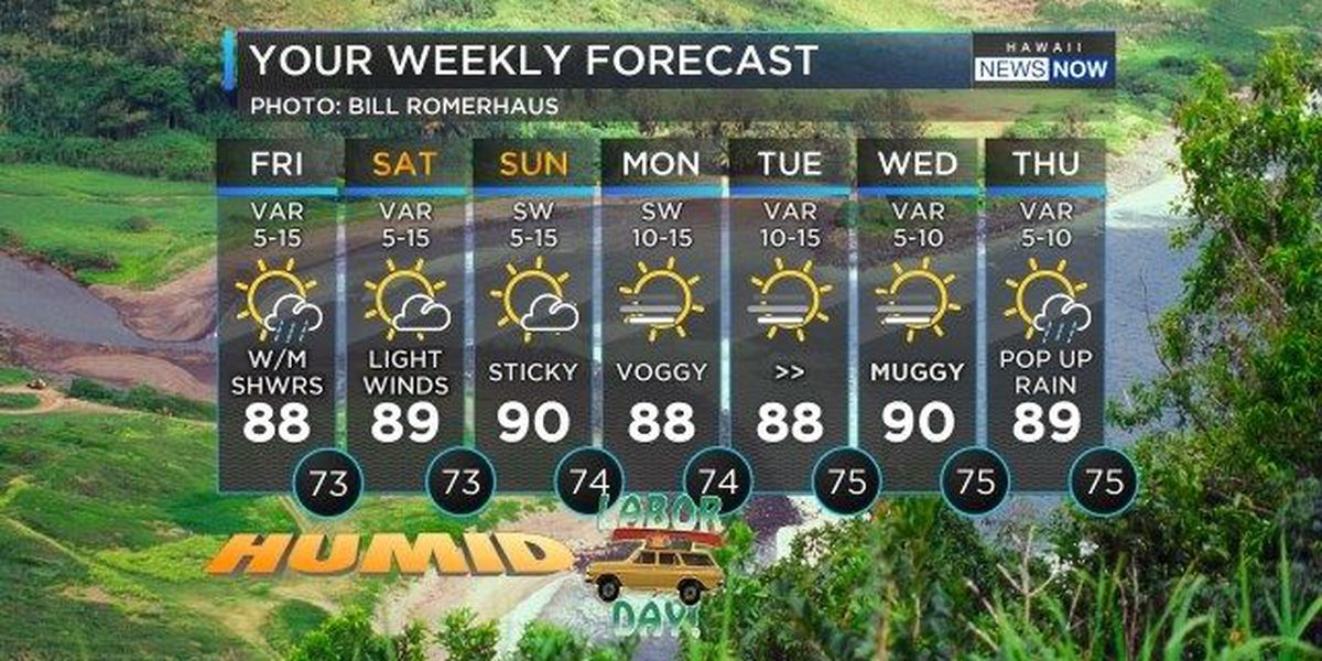 Forecast: Trade winds weakening, vog to hang around