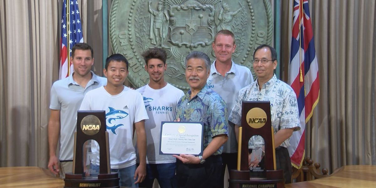 Governor Ige honors HPU tennis national championship