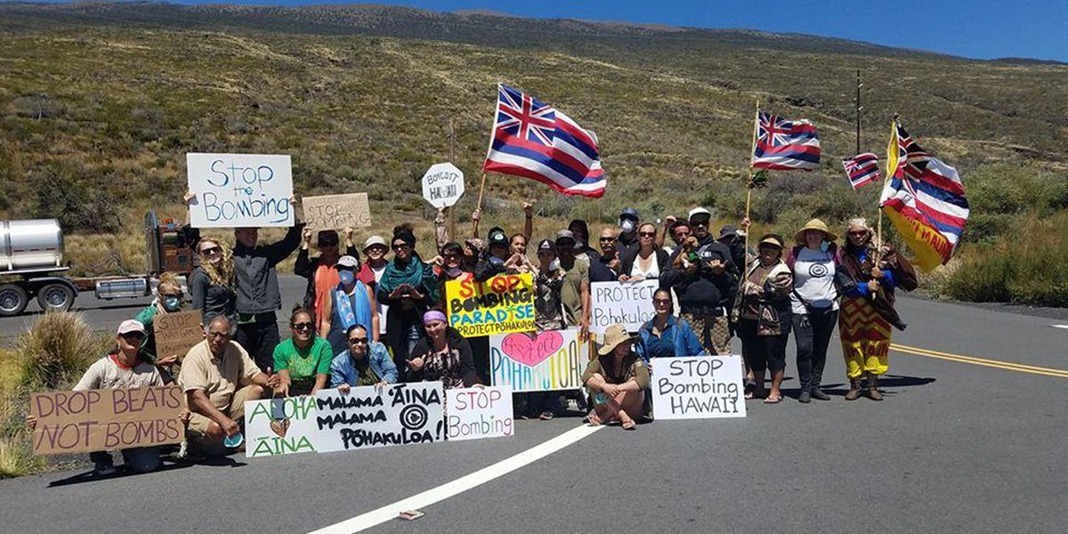 Protesters call for an end to live-fire training at Pohakuloa