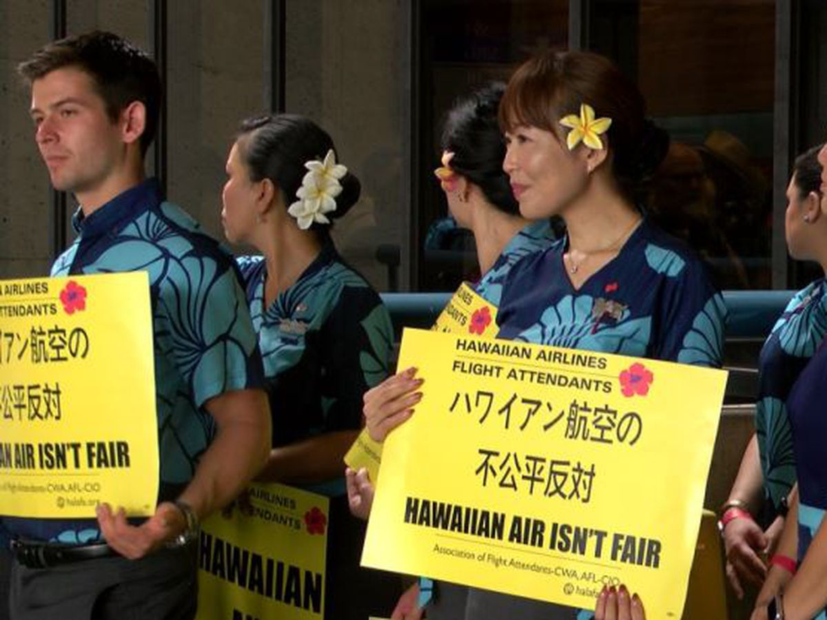 Hawaiian Airlines flight attendants hit the picket lines at HNL