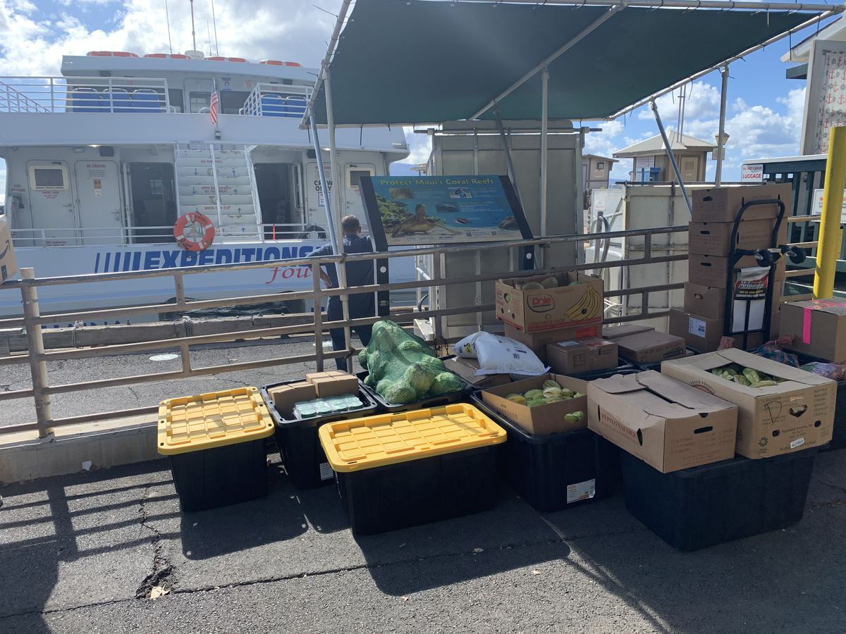 Maui volunteers ferry donations to Lanai as locked down families await aid