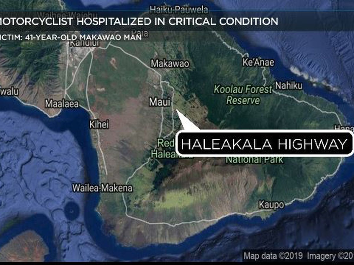 Motorcyclist critically injured in crash in Kula