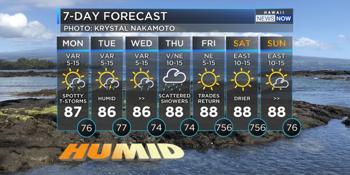 Forecast: Warm and humid, with increasing rain for western half of the state