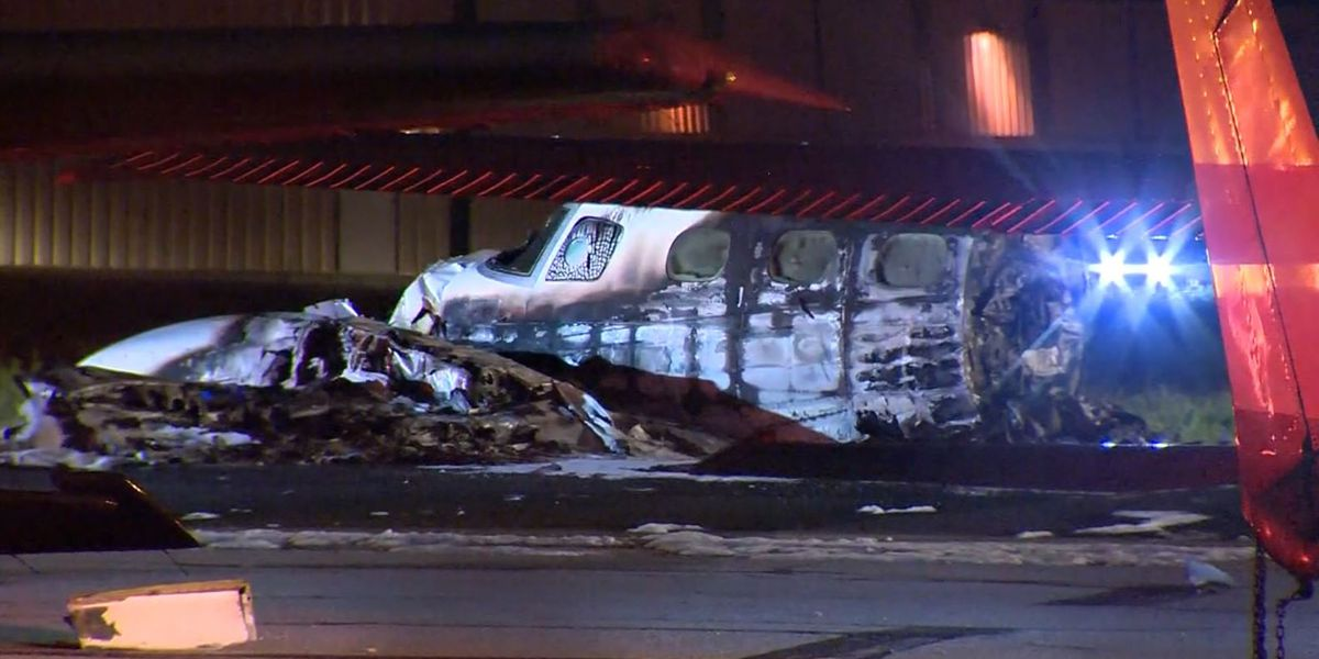 Pilot dead after twin-engine plane crashes, bursts into flames at CA airport