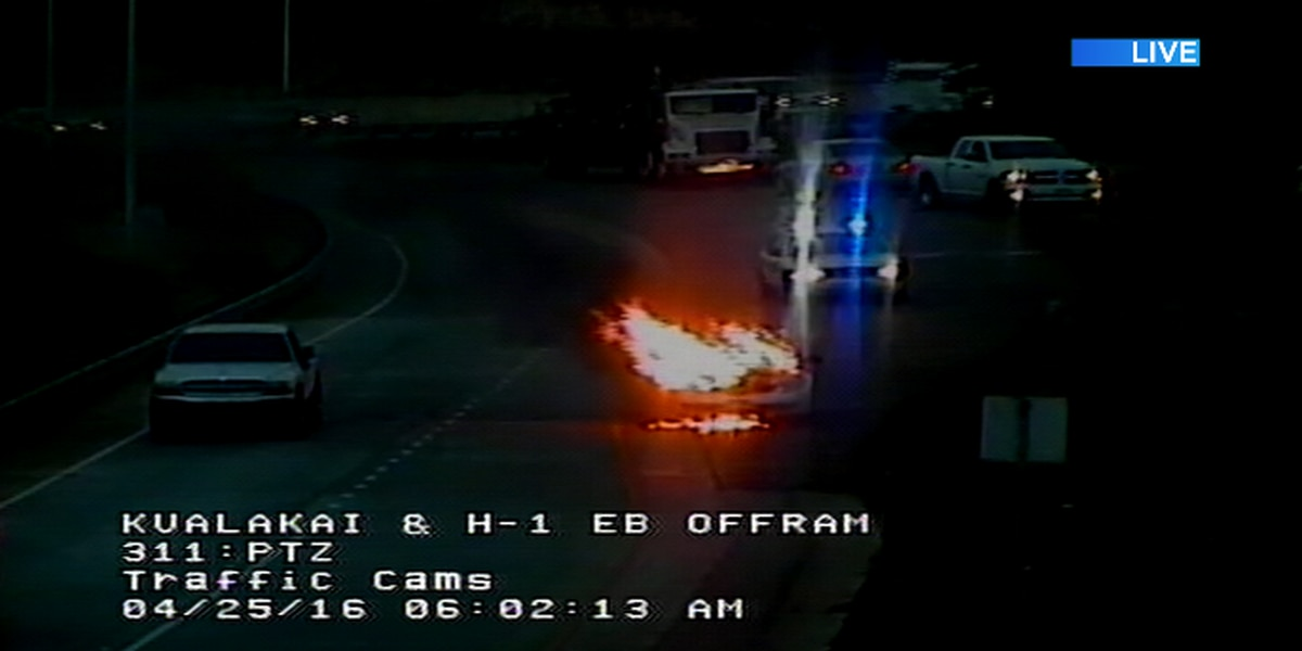 Vehicle fire temporarily blocks Kualakai Parkway exit from H-1