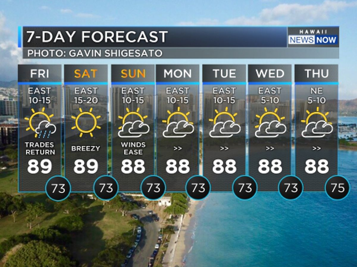 Forecast: Trade winds set to return for the weekend