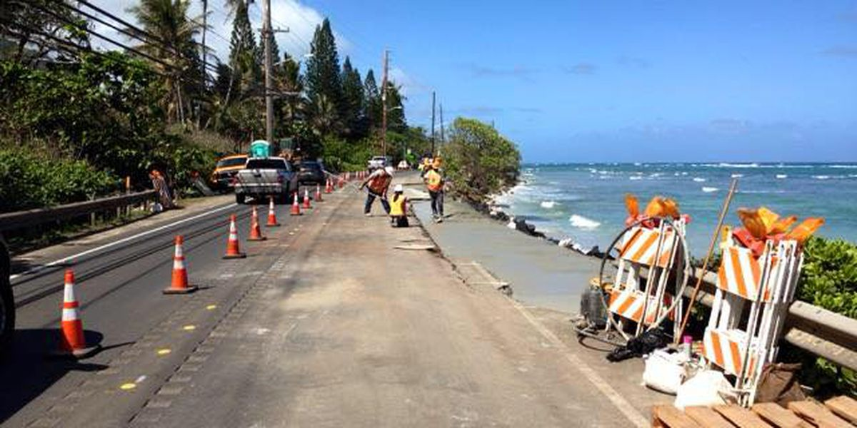 Crews repair stretch of highway damaged by waves