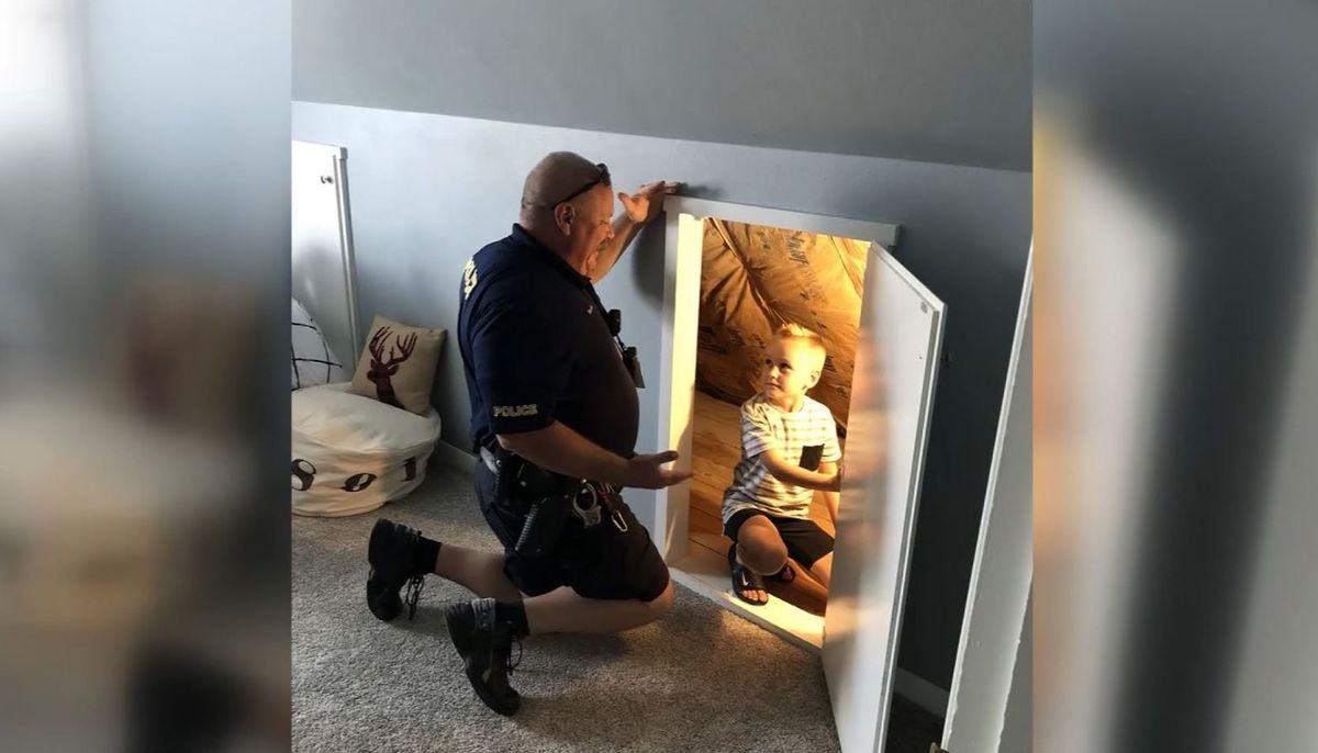 Image result for Police officer checks 6-year-old's bedroom for 'bad guys'