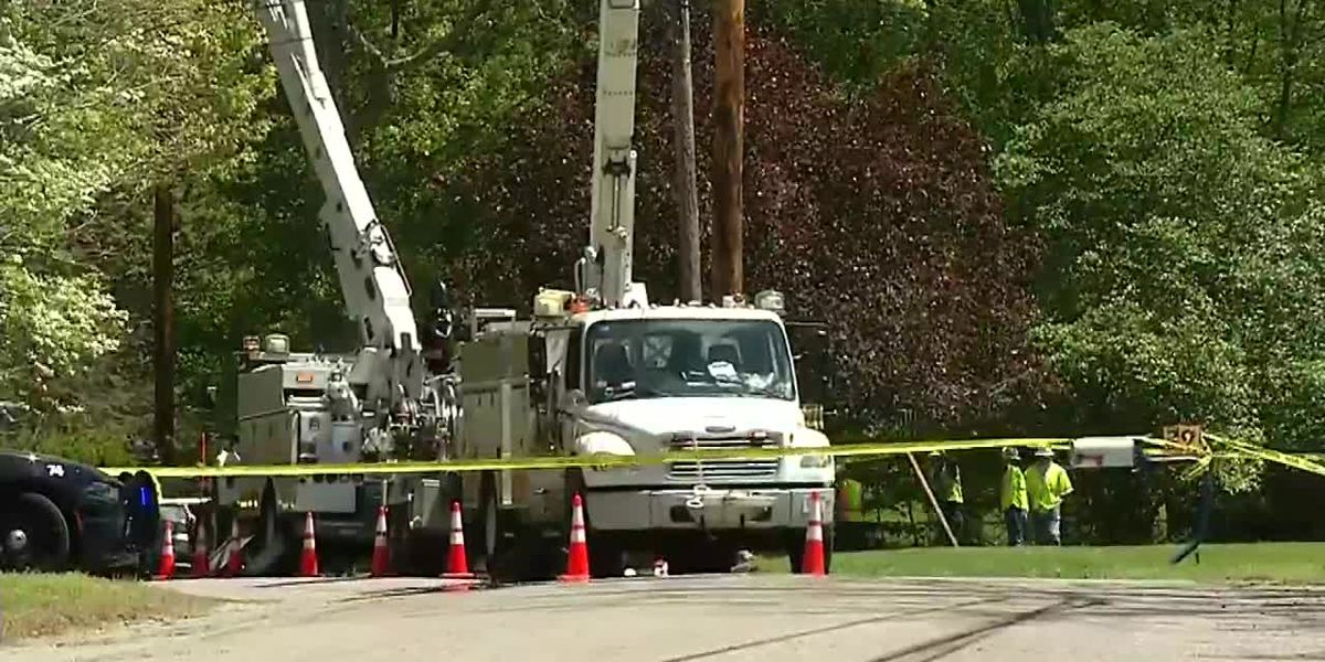 Worker shocked by power lines after falling from bucket truck