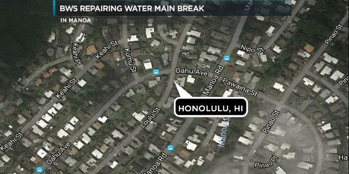 Crews working on 8-inch water main break in Manoa
