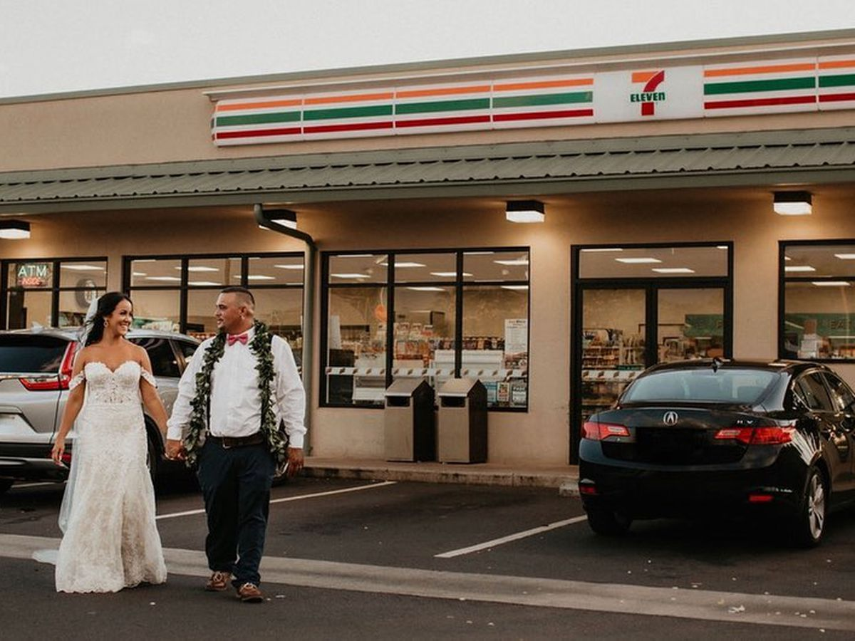 First the vows, then some musubi? Newlyweds make pit-stop at Pearl City 7-Eleven