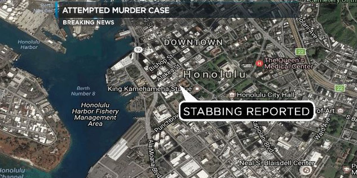 Police searching for suspect after stabbing in Downtown Honolulu