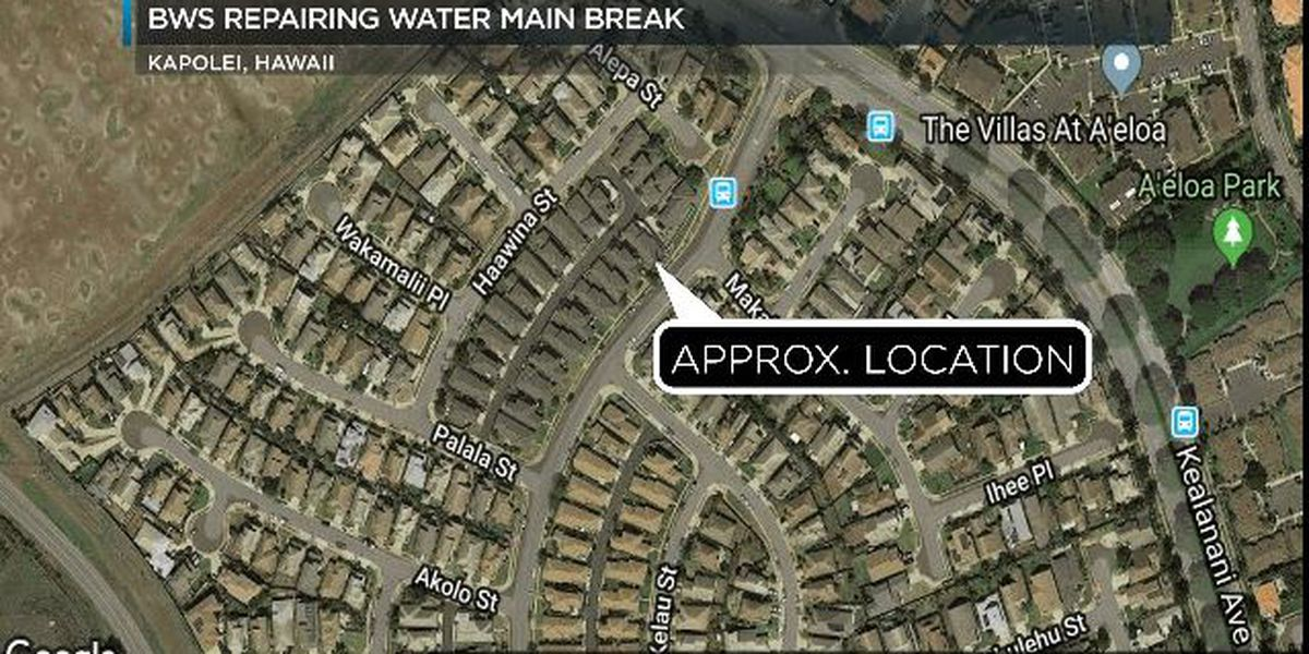 Water main break affecting 55 customers in Kapolei