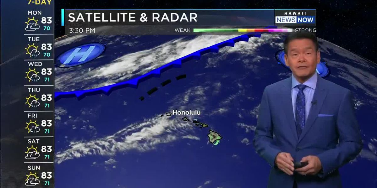 Forecast: Decreasing trade winds, increasing chance of showers ahead