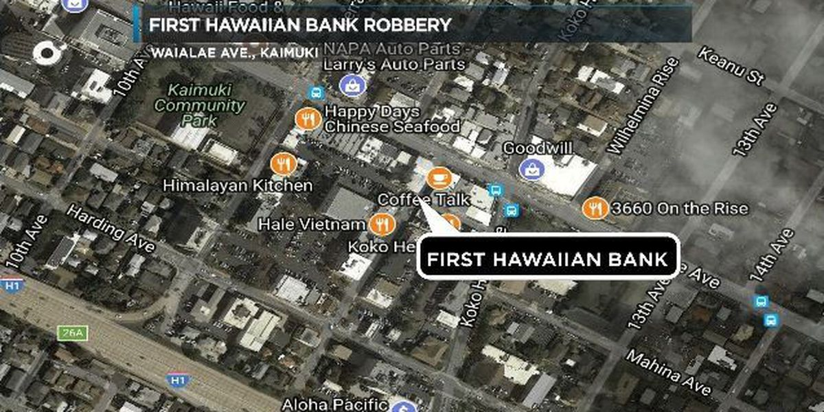HPD searching for suspect in Waialae First Hawaiian Bank robbery