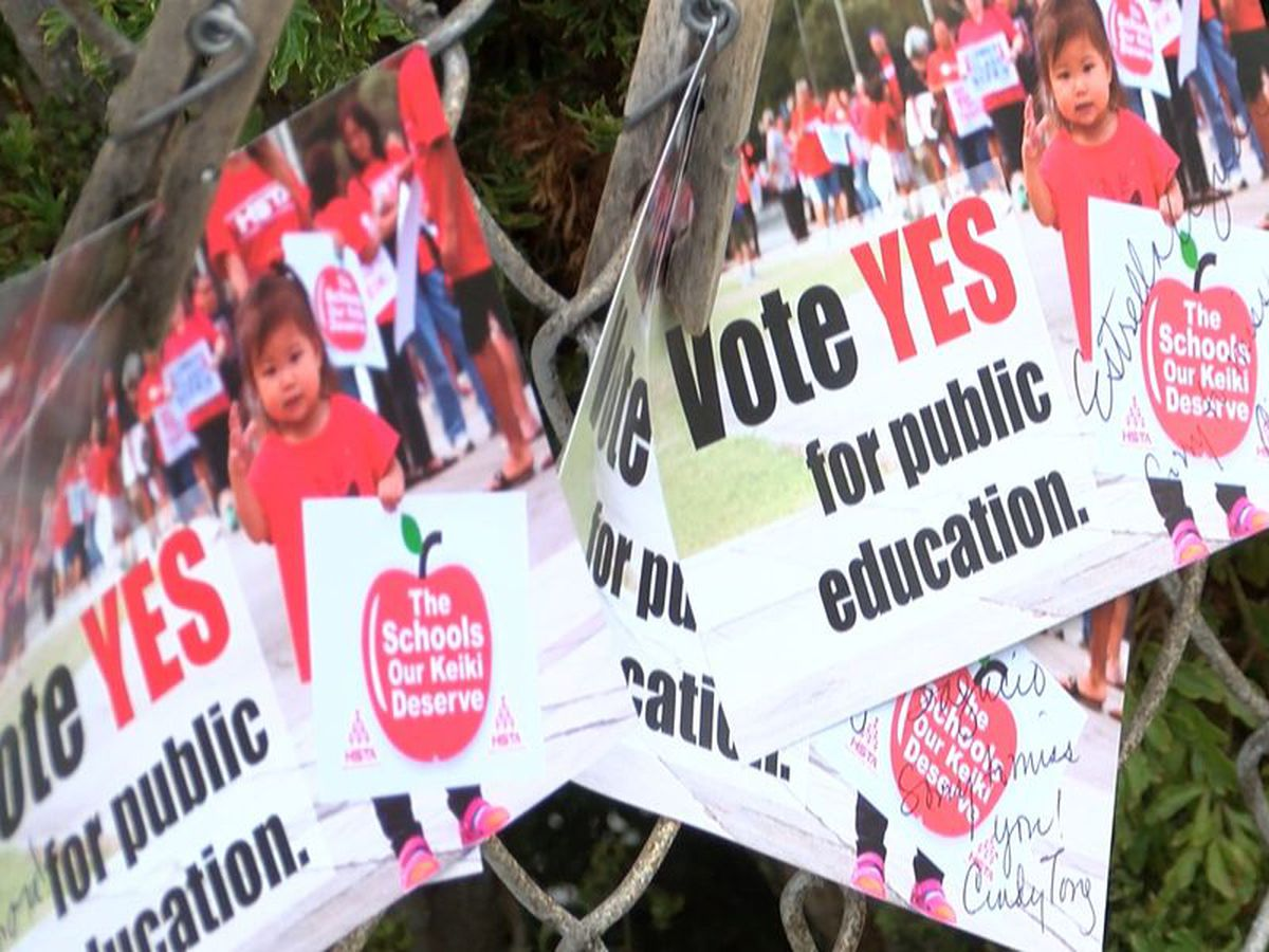 Parents join teachers at Hawaii schools to rally in support of constitutional amendment