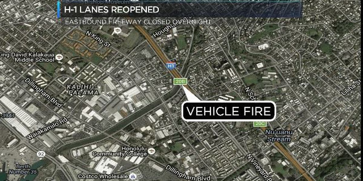 Vehicle fire temporarily shuts down eastbound lanes of H-1